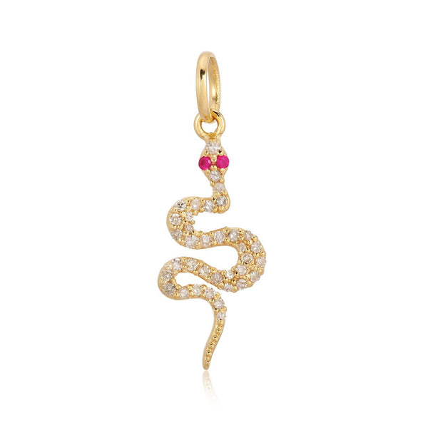14k Ruby Diamond Snake Charm