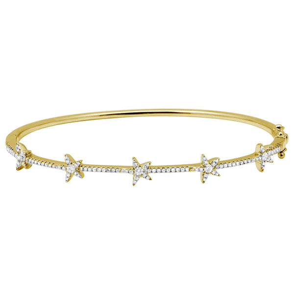 14k Diamond Star Bangle
