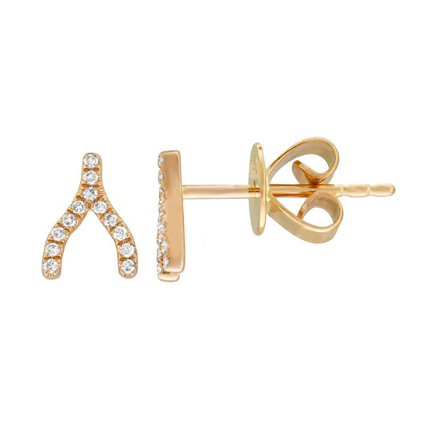 14k Diamond Wishbone Earrings
