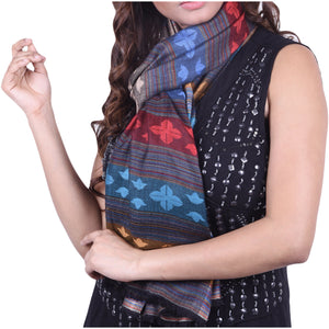 Modal scarf in black with stripes & pattern design