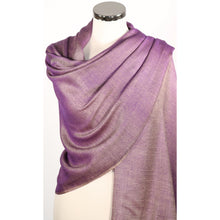 Reversible pashmina/wrap or scarf in shades of purple & beige