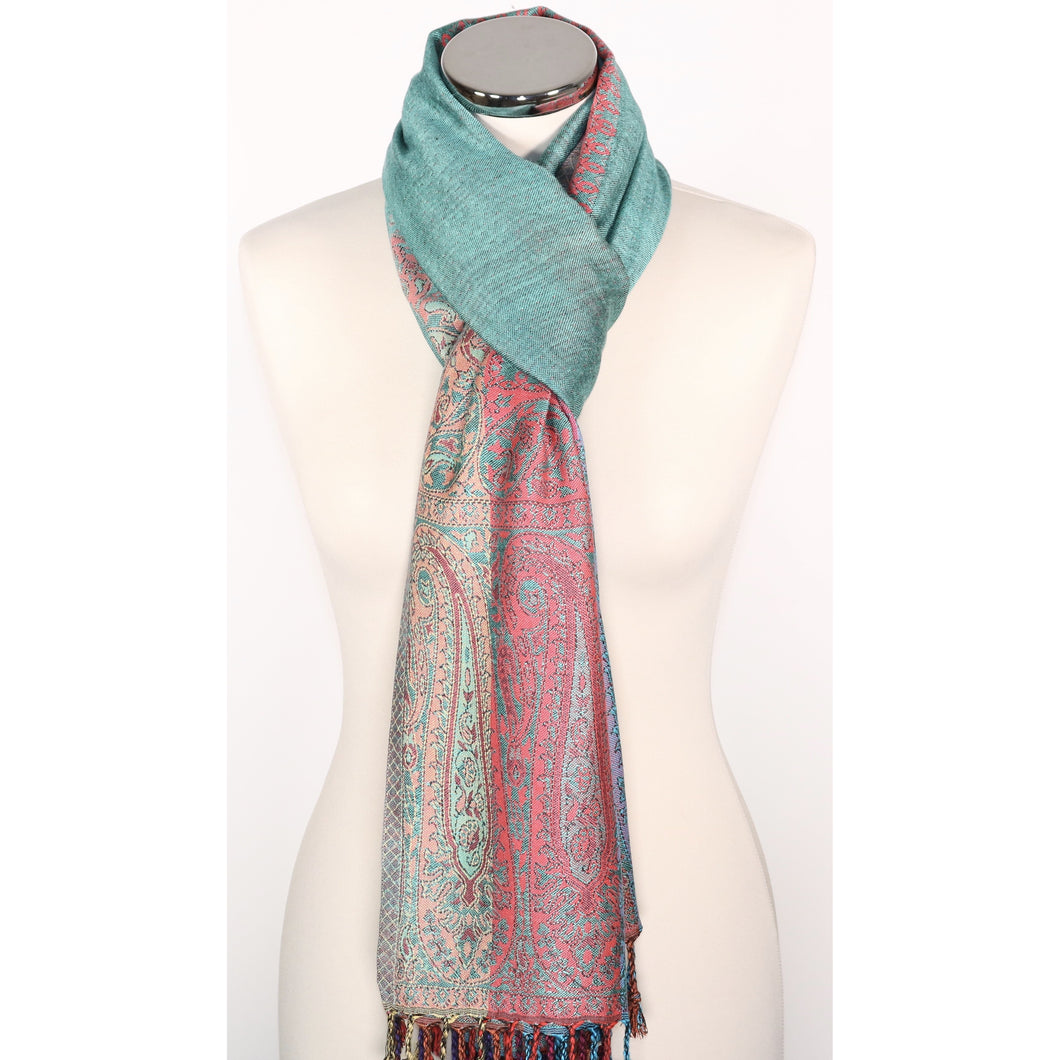 Reversible viscose scarf in green & multicoloured with pattern border
