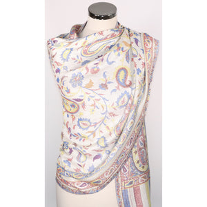 Viscose scarf with floral & paisely pattern