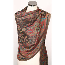 Silk/modal blend scarf  in black with pattern