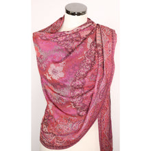 Silk/modal blend scarf in pink with pattern