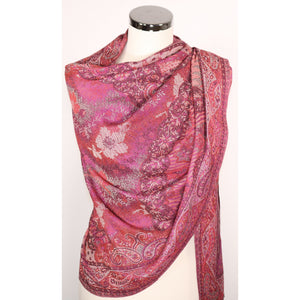 Viscose Scarf In Pink With Pattern