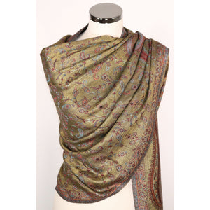 Reversible viscose scarf with floral pattern in brown & olive