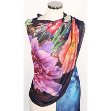 Poly silk scarf with floral digital print