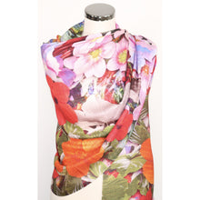 Poly Silk Scarf With Digital  Floral Print