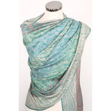 Silk modal blend scarf with paisley pattern in shades of green