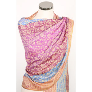 Silk modal blend scarf with paisley pattern multicoloured