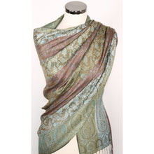 Viscose Scarf With Paisley Pattern In Green