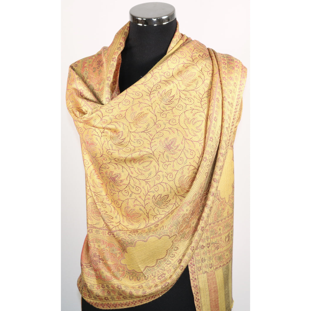 Modal Scarf In Yellow With Design