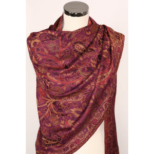 Viscose Scarf In Purple With Pattern