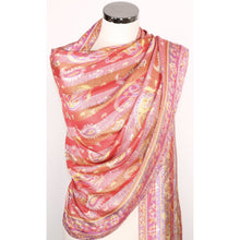 Viscose multicoloured scarf with floral pattern