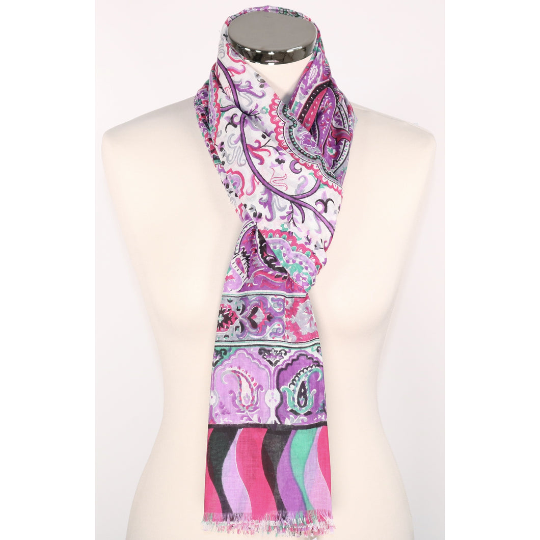 Pure cotton everyday pattern scarf with border