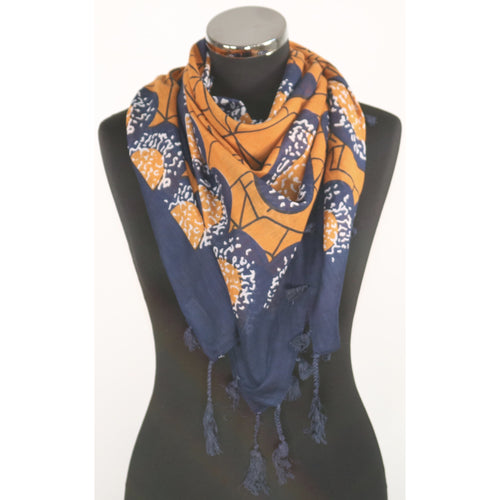 Pure cotton square abstract pattern scarf in choice of colours