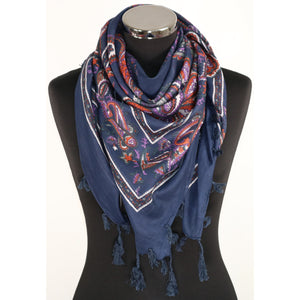 Pure cotton square pattern scarf in a variety of colours