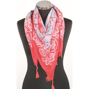 Pure cotton square abstract pattern scarf in pink