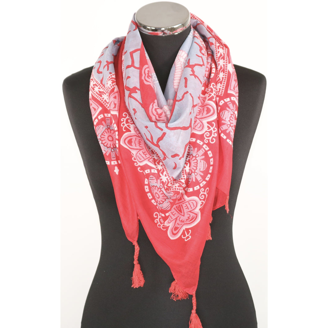 Square pure cotton abstract pattern scarf in pink