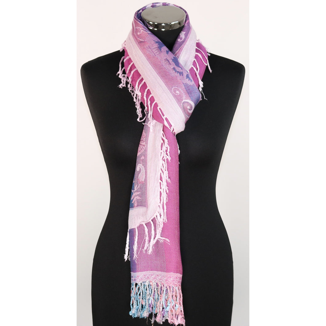 Viscose reversible scarf with floral design