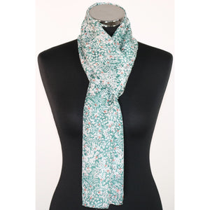 Pure Silk Scarf With Floral Pattern (2 Colours)