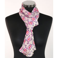 Pure silk scarf with pattern in choice of 2 colours