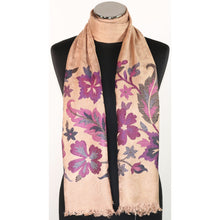 Fine viscose scarf in beige with floral embroidery