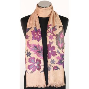 Viscose Scarf In Beige With Floral Embroidery
