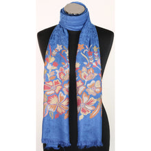 Viscose scarf in blue with floral embroidery