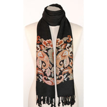Fine viscose scarf in black with floral embroidery