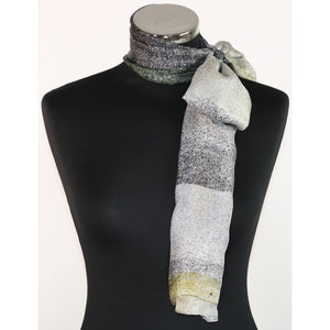 Pure silk scarf in grey & black with dots