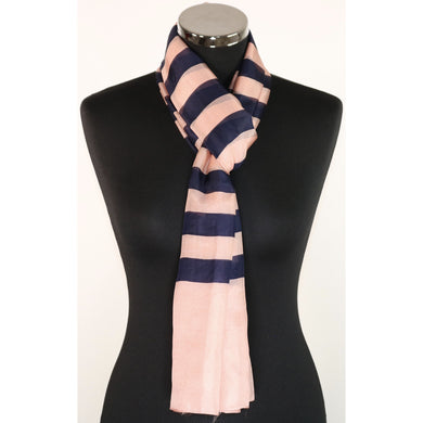 Pure Silk Scarf With Navy & Pink Stripe