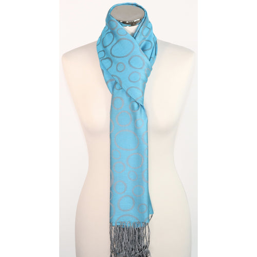 Modal reversible scarf with circles design in blue