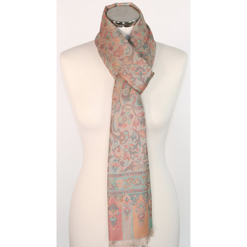 Modal Scarf In Beige With Floral Embroidery