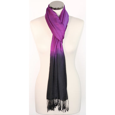 Poly Silk Scarf - Black To Purple
