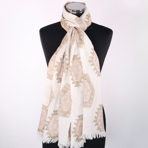 Pure Cotton Scarf In Beige