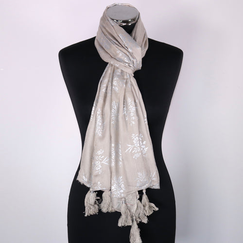 Pure Cotton Scarf With Floral Pattern