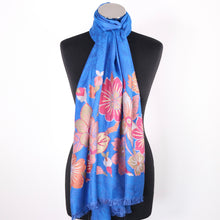 Scarf In Blue With Floral Design