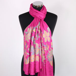 Scarf With Floral Embroidery