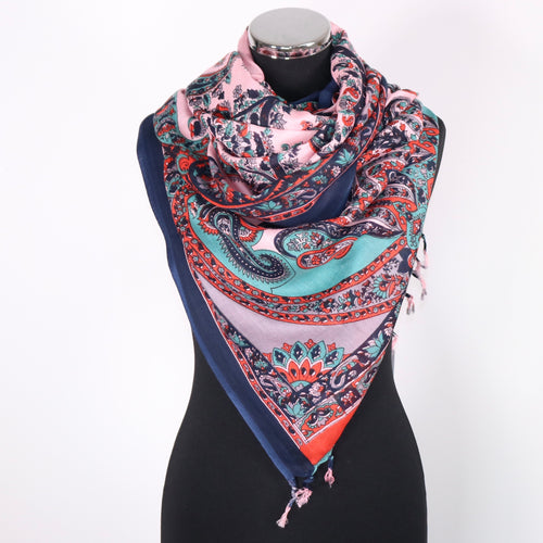 Pure Cotton Scarf With Abstract Design