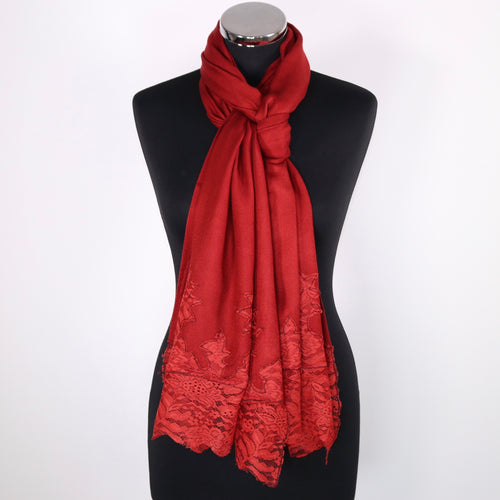 Scarf With Lace Border