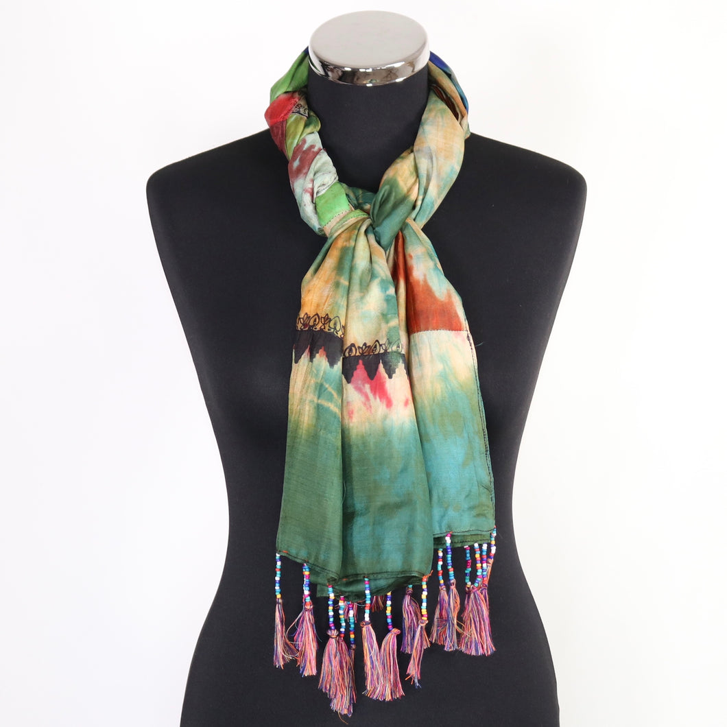 Pure Silk Tie Dye Design Scarf