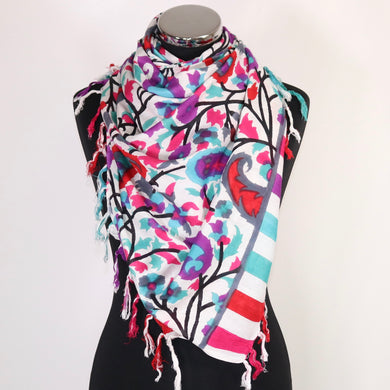 Pure Cotton Scarf With Floral Design