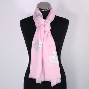 Cashmere Scarf With Leaf Foil Design