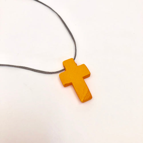 Wooden Coloured Cross Necklace