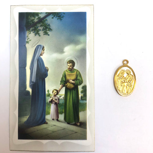 Prayer to the Holy Family Card and Medal