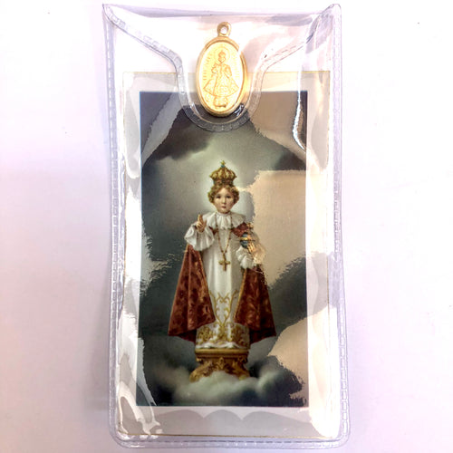 Infant of Prague Prayer Card & Medal