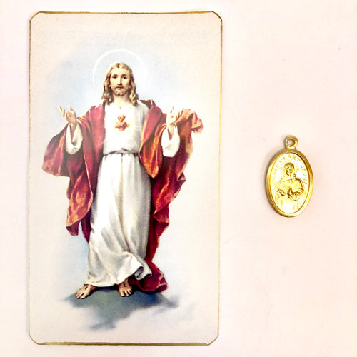 Sacred Heart Prayer Card & Medal