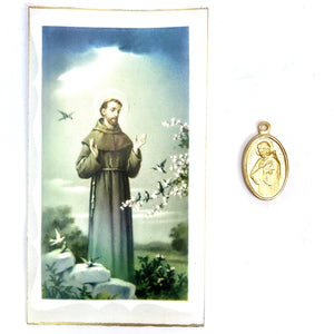 St Francis of Assisi Prayer Card and Medal